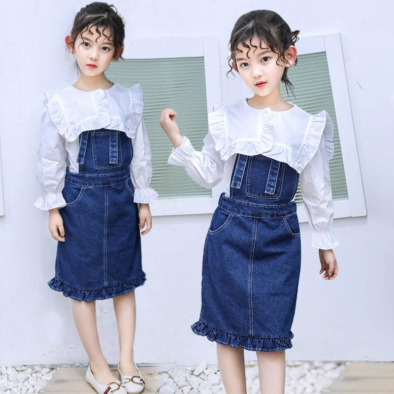 e72638de805ae キッズ デニムサロペットスカート+ブラウスシャツ セットアップ 2点セット 女の子 カジュアル子供服 シンプル