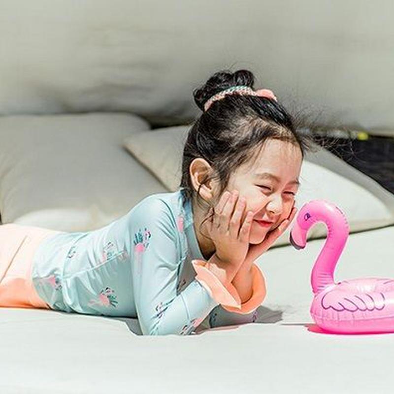 ベビー キッズ 女の子水着 フラミンゴ柄 ラッシュガード 上下セット パンツ付きスカート 水着セット 長袖 フリル ビキニー 幼稚園 保育園 可愛い UV対策 TAGX11067