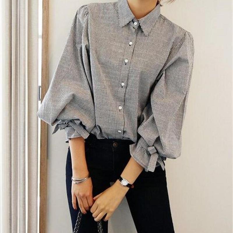 トレンド バルーン袖シャツ♪トップス シンプル シャツ 大人 カジュアル ファッション とろみシャツ ブラウス ママ TAGX10153
