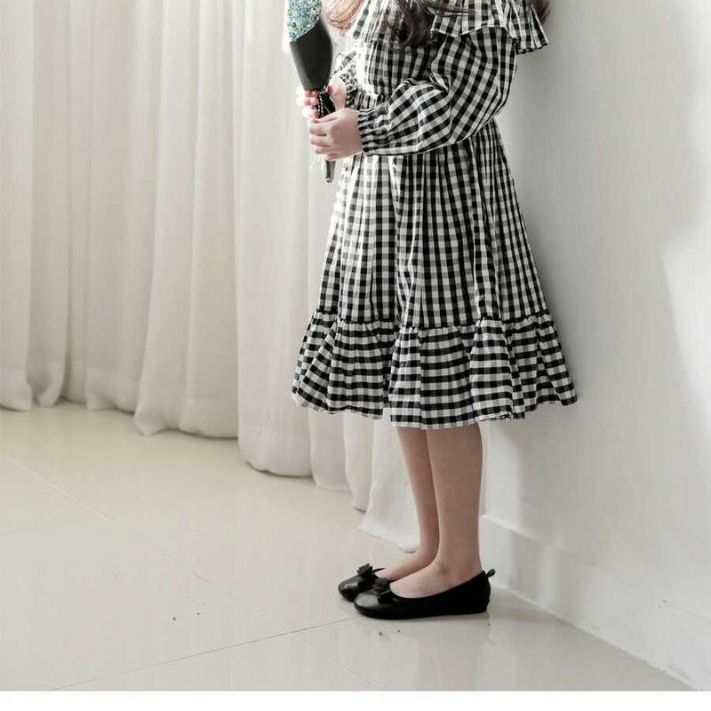チェックロングワンピース 女の子 お出かけ ビショップスリーブ フリル フォーマル 結婚式 入園式 こどもの日 優雅 流れ 発表会 パーティ英国風 韓国子供服 送料無料 TAGX11577