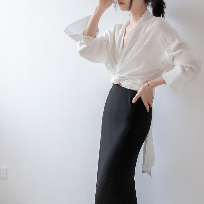 春夏先取り♪爽やかレディース シャツ 長袖 無地 デザインブラウス ワイシャツ リボン F 大きいサイズ ベーシック 体型カバー 女性 シンプル ビジネス フォーマル TAGX11679