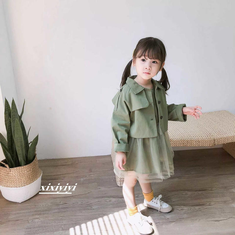 669f8041978f9 女の子キッズ ワンピース+ジャケット 韓国子供服 キッズドレス カーキ シフォン風 ワンピース 卒園