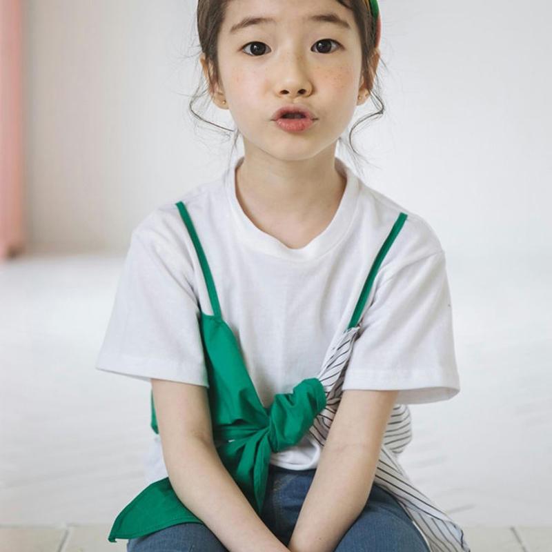 キャミソールTシャツドッキングトップス リボン ドット Tシャツ 韓国子供服 ティーシャツ 半袖 韓国子供服 カットソー キッズ ジュニア 子供服TAGX11742