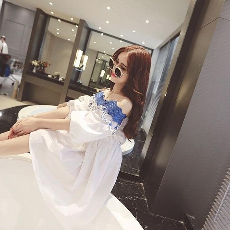ワンピース ショート ミニ丈 五分袖 韓国 韓国ファッション お嬢様 可愛い デート お出かけ オフショル 清楚 肩出し オシャレ 涼し気 カジュアル 20代 30代 送料無料 TAGX11322