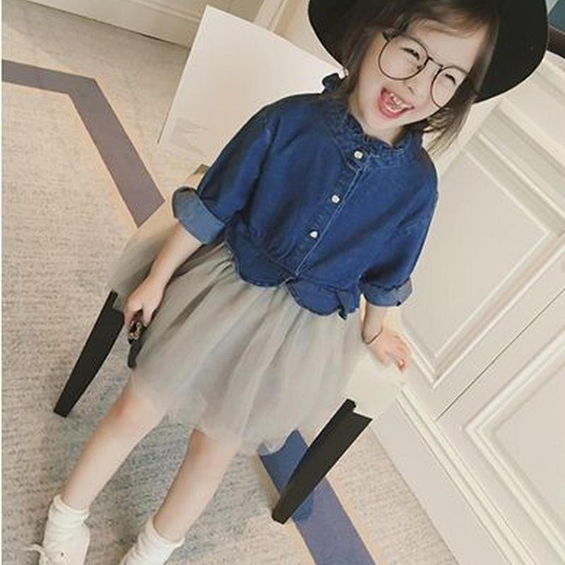 デニムワンピース キッズ 前開き ボタンシフォンスカート女の子 100 110 120 130ジュニア 子ども キッズキッズ服 韓国子供服 TAGX10421