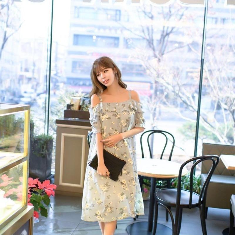 ワンピース ひざ丈 五分袖 花柄 フリル ガーリー オフショルダー キャミソール エアリー パステルカラー 女性らしい 清楚 上品 デート  TAGX10020