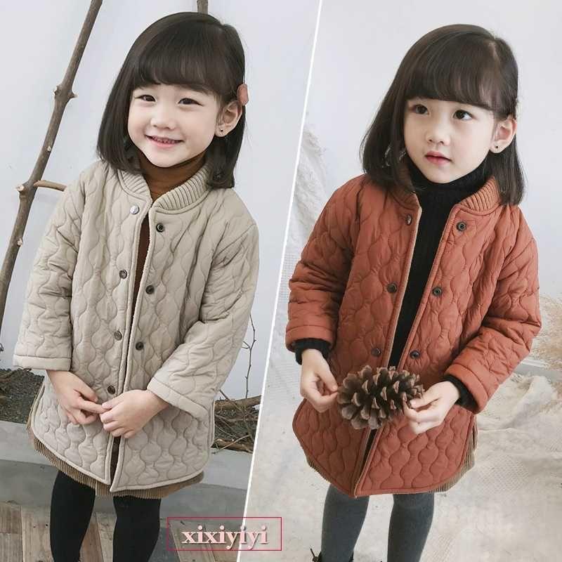 49ae9018ec0b9 キッズ 暖かい キルティングコート 韓国子供服 オレンジ ベージュ コート 防寒 上着 子供服 おしゃれ