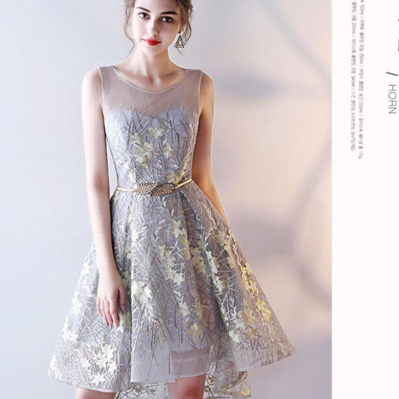 ワンピース フラワー 二次会 花嫁ドレス flowerドレス カラードレス 前ミニ ファスナー ベルト付き 結婚式刺繍 フィッシュテール ミニドレス 結婚式刺繍 フィッシュテール TAGX11590