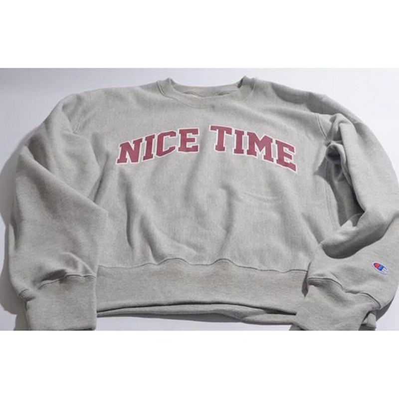 "【 tr.4 suspension 】""NICE TIME"" COLLEGE LOGO SWEAT ( OXFORD GRAY )"