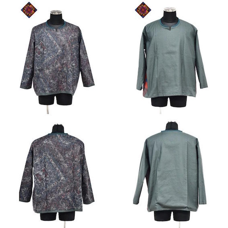 【 ARIGATO FAKKYU 】WIDE PULL OVER ( PAISLEY / GREEN )