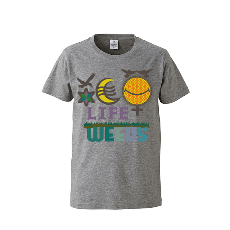 "【 ARIGATO FAKKYU 】""LIFE WEEDS"" PRINTED T-SHIRT ( #1 HEATHER GRAY )"