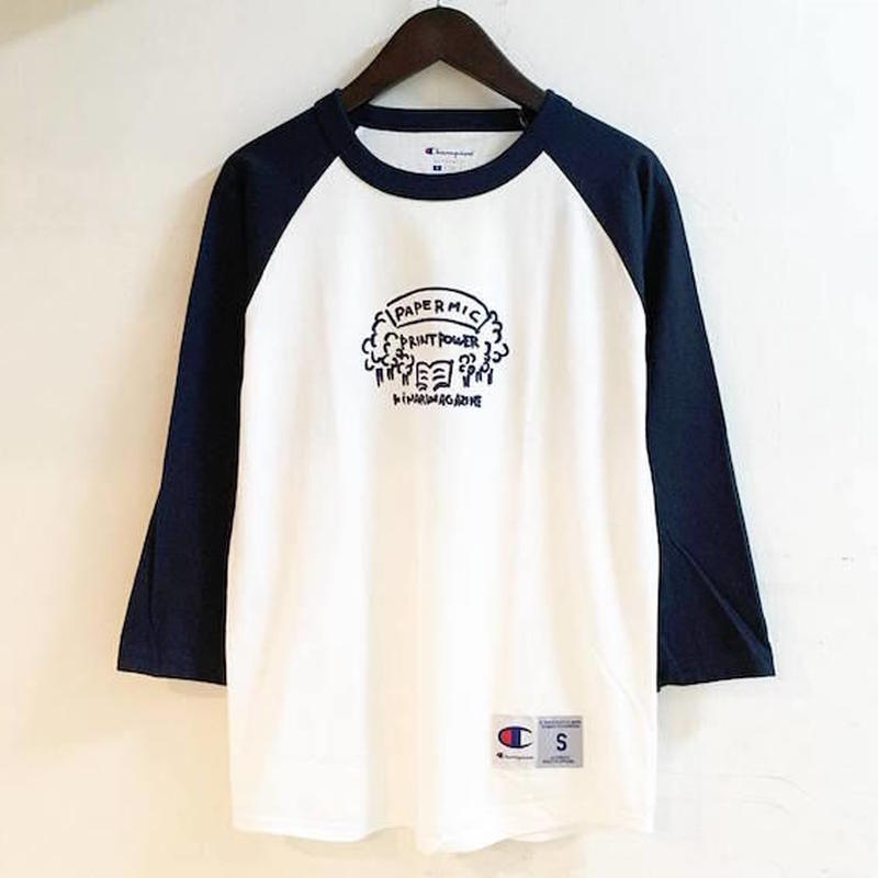 "【 PAPERMIC 】""Thinking High Time"" CHAMPION BB TEE ( NAVY )"