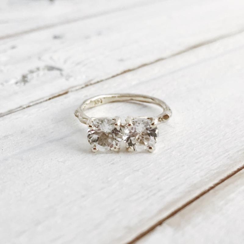 K10 white topaz x2 ring #9