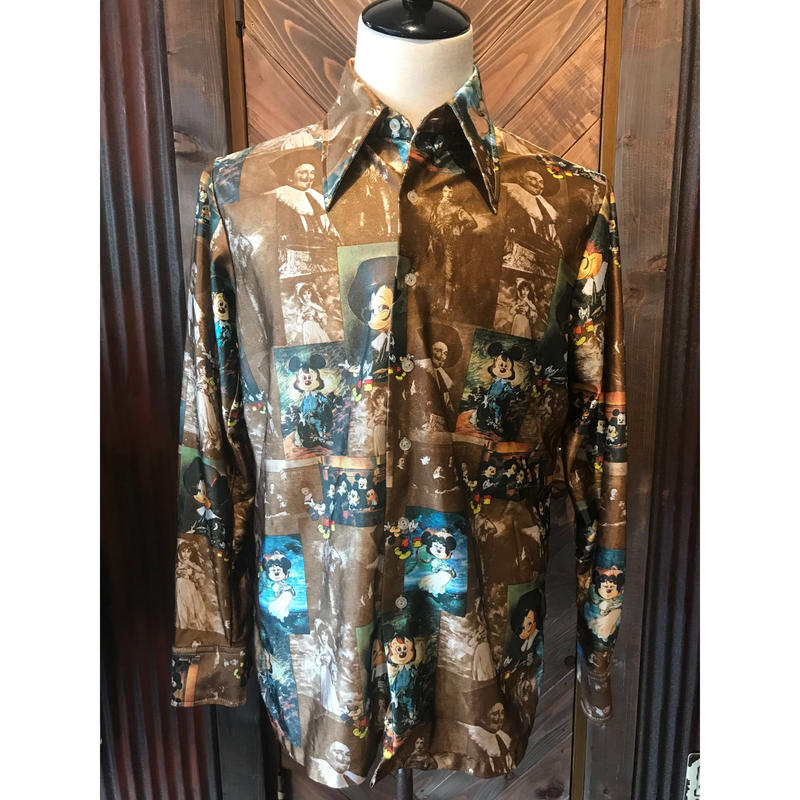 70s Kennington 総柄mickey shirt (USED)