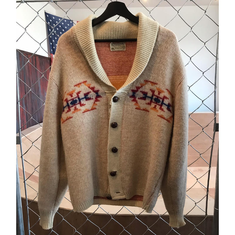 70s~pendleton shawl collar cardigan