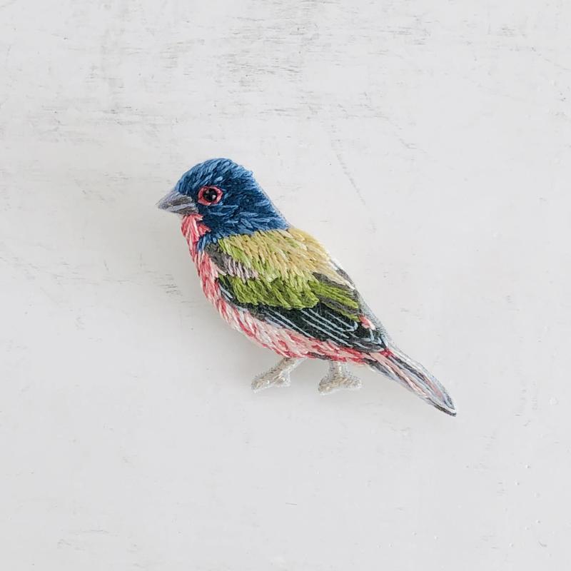 刺繍のブローチ Bird E