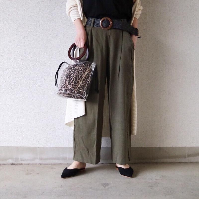 【ゆうパケット対象】麻×レーヨンワイドパンツ