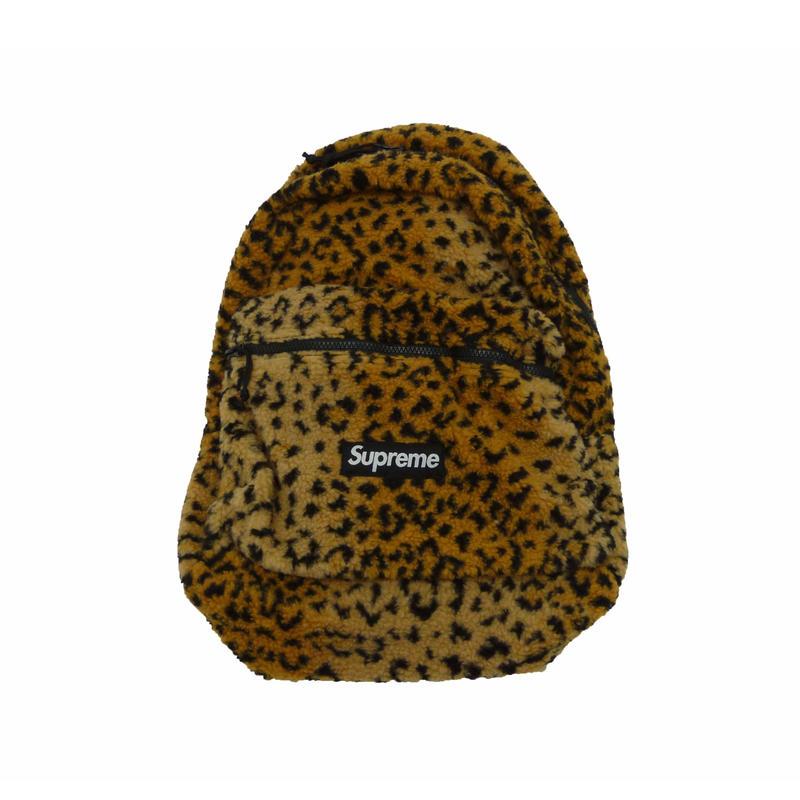 Leopard Fleece Backpack (Yellow)