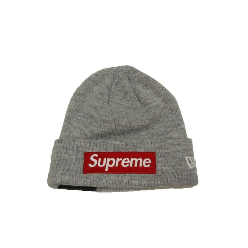 Spreme New Era Box Logo Beanie (Heather Grey)