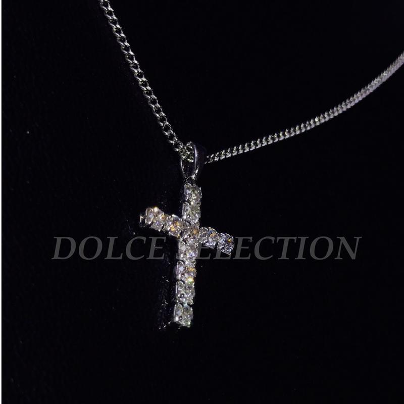 ジルコニア クロスネックレス silver
