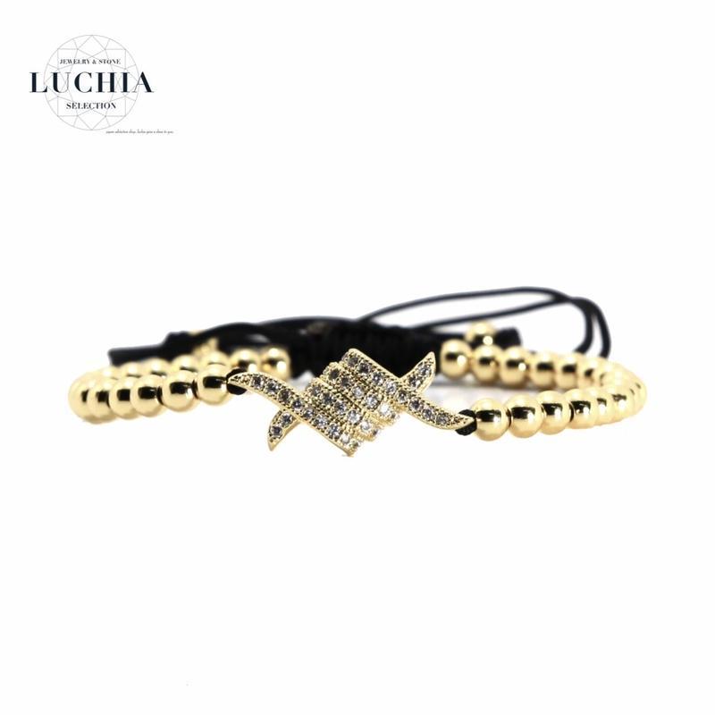 Handmade woven bracelet  type 1 gold