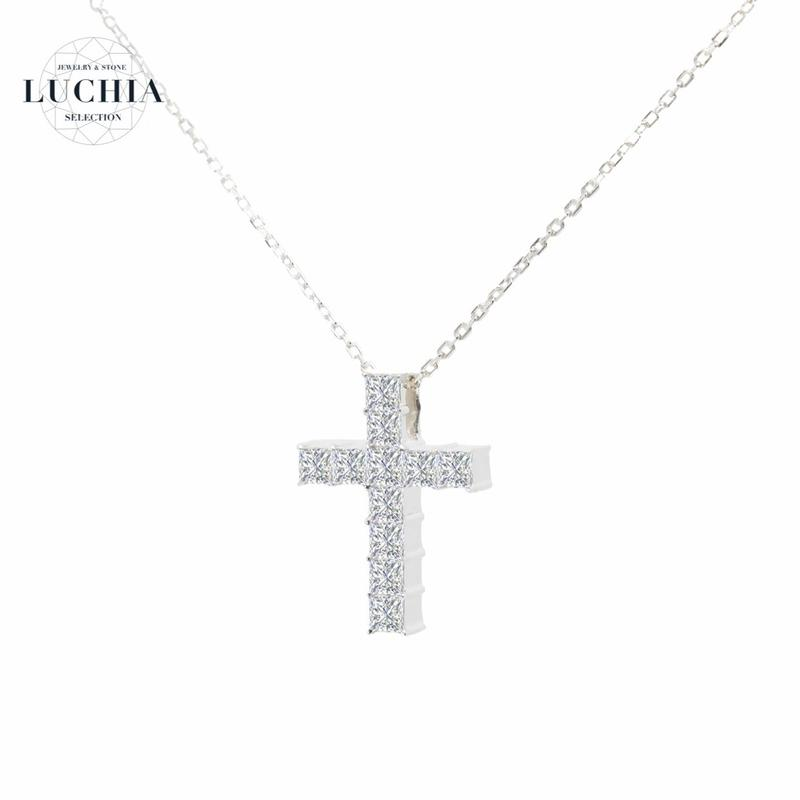 luxury series cross necklace White
