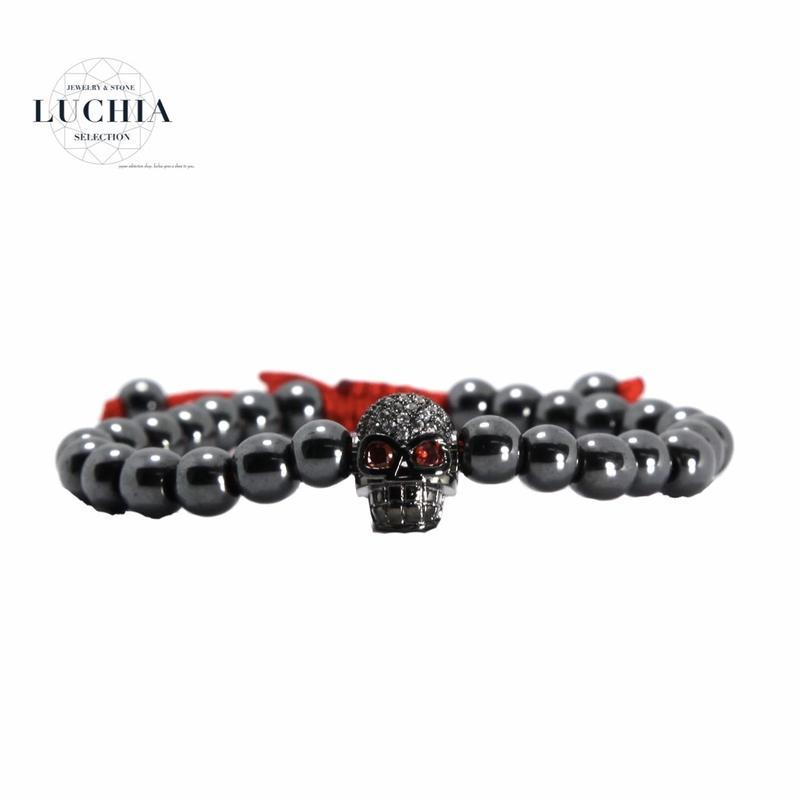 Handmade woven bracelet  type 11 black red