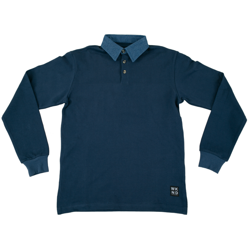 WKND【 ウィークエンド】  Denim Collar Rugby Shirt デニム ラグビー シャツ