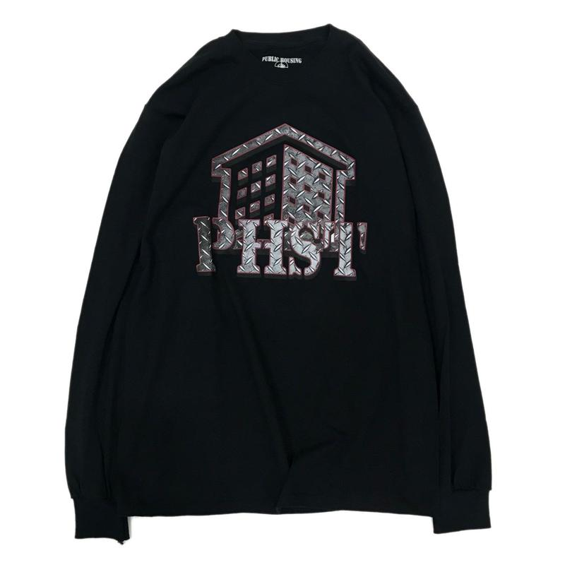 Public Housing Skate Team【パブリックハウジングスケートチーム 】Metal Logo L/S Tee Black ロンT TEE ブラック