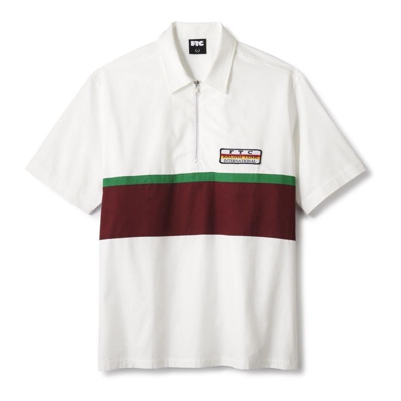 FTC【 エフティーシー】HALF ZIP PIT CREW SHIRT ハーフジップシャツ ホワイト