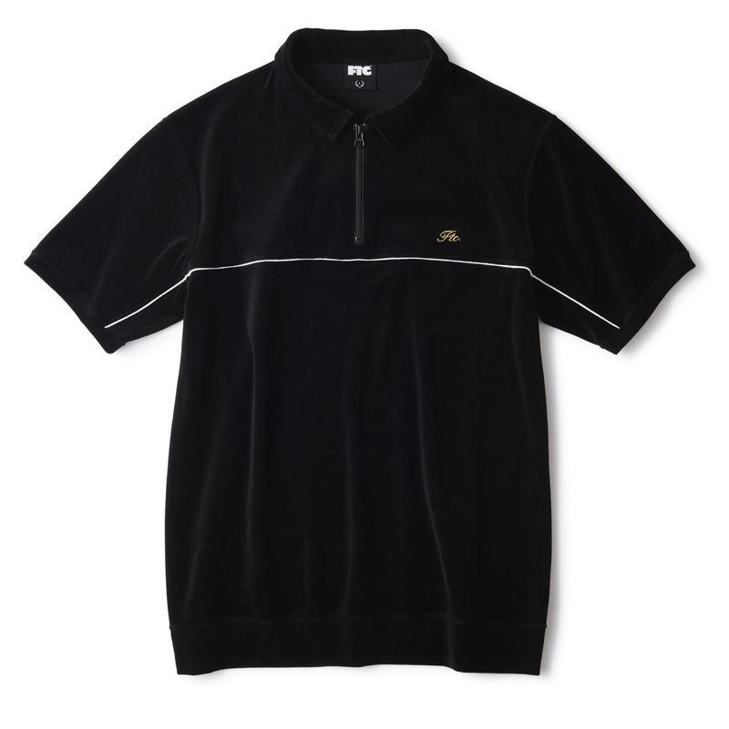 FTC【 エフティーシー】PIPING VELOUR POLO BLACK ベロア ポロシャツ ブラック