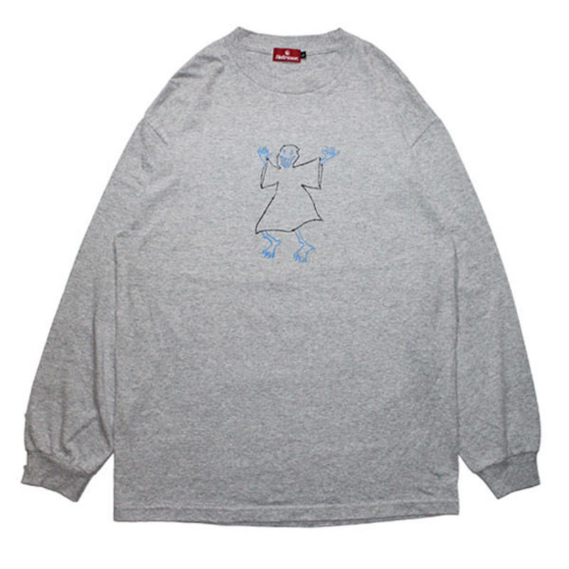 HELLRAZOR【 ヘルレイザー】x Shawn Powers Ghost Long Sleeve Shirt Grey ロンT グレー