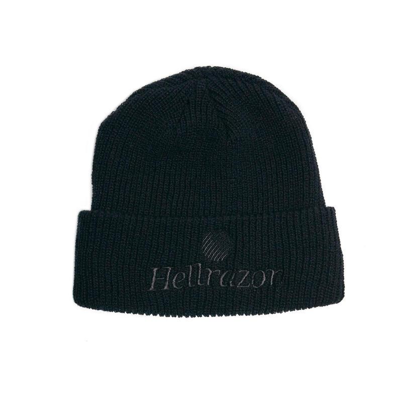 HELLRAZOR【 ヘルレイザー】TTRADEMARK LOGO WATCH CAP  ワッチキャップ 帽子 ブラックアウト