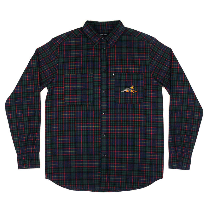 PASS~PORT【 パスポート】BEST FRIEND EMBROIDERY FLANNO  GREEN NAVY  長袖シャツ グリーンネイビー