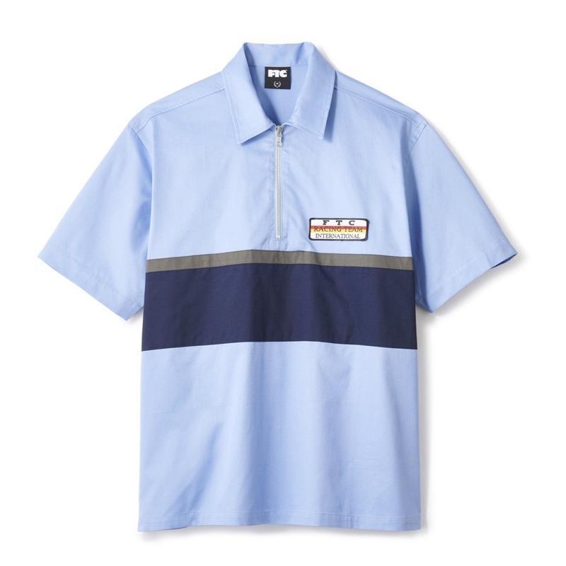 FTC【 エフティーシー】HALF ZIP PIT CREW SHIRT ハーフジップシャツ ブルー