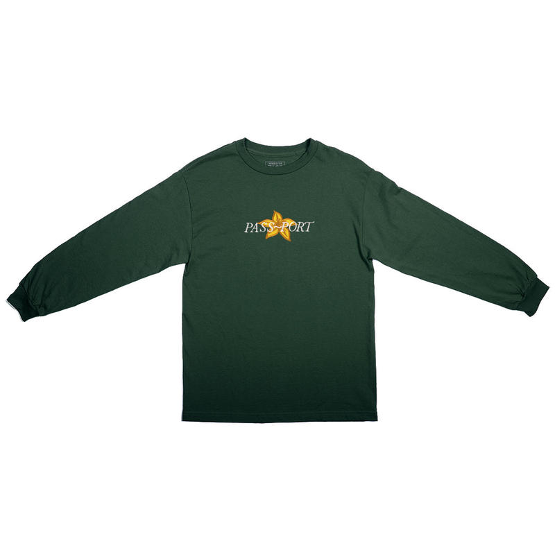 PASS~PORT【 パスポート】DAFFODIL APPLIQUE L/S TEE FOREST GREEN ロンT  フォレストグリーン