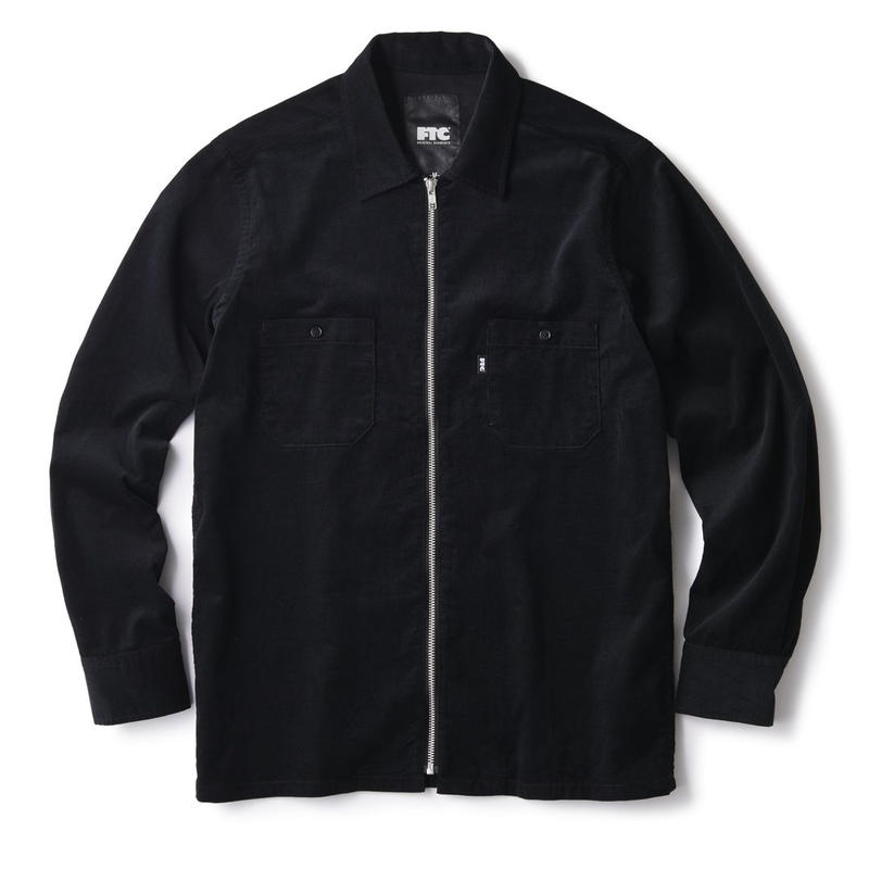 FTC【 エフティーシー】CORDUROY ZIP UP SHIRT BLACK ジップアップシャツ ブラック