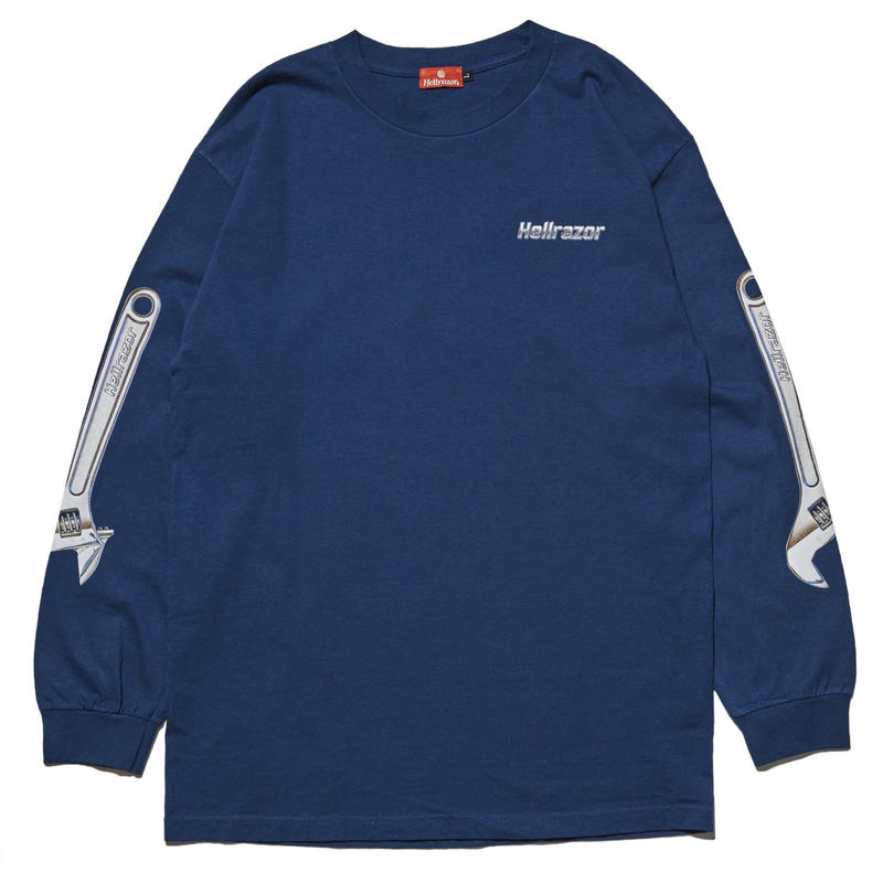 HELLRAZOR【 ヘルレイザー】WRENCH ARM LONG SLEEVE SHIRT HARBOR BLUE ロンT ブルー