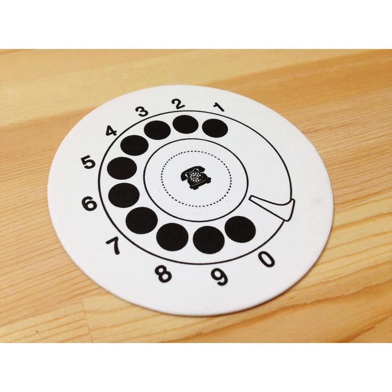 黒電話コースターカード