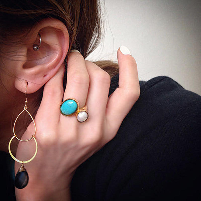 Turquoise & pearl ring