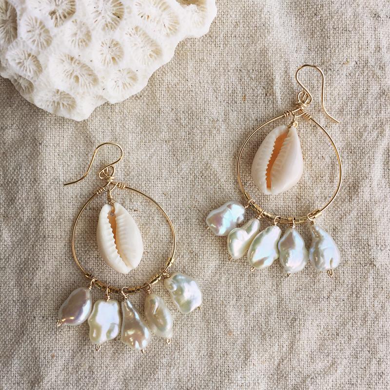 Keshi pearl hoop pierced