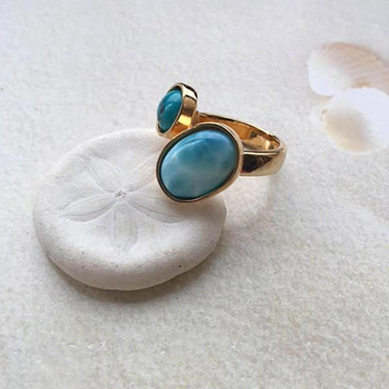 Larimar & turquoise ring