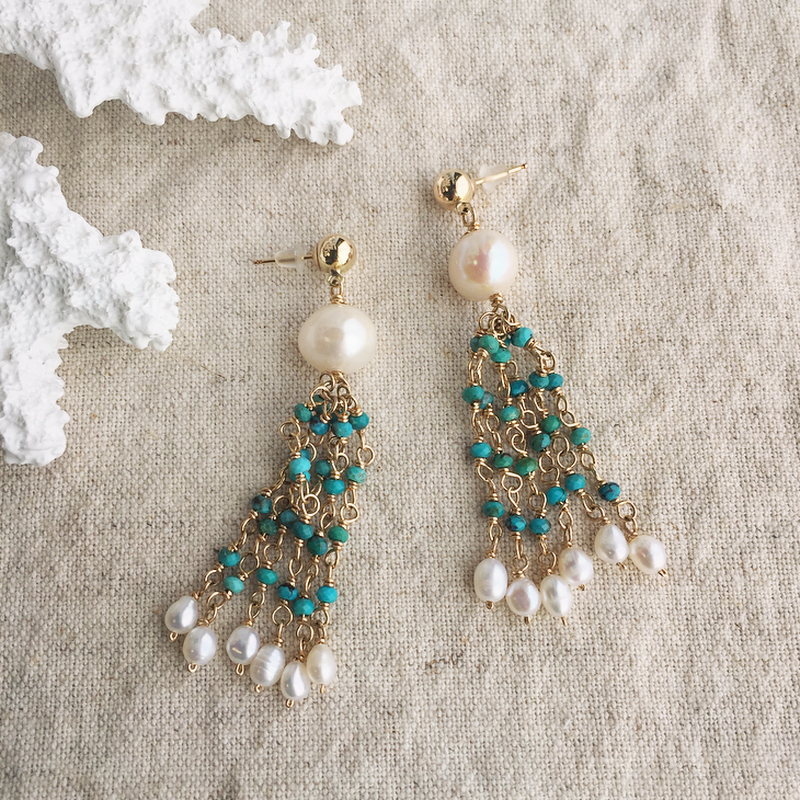 Pearl &turquoise  pierced