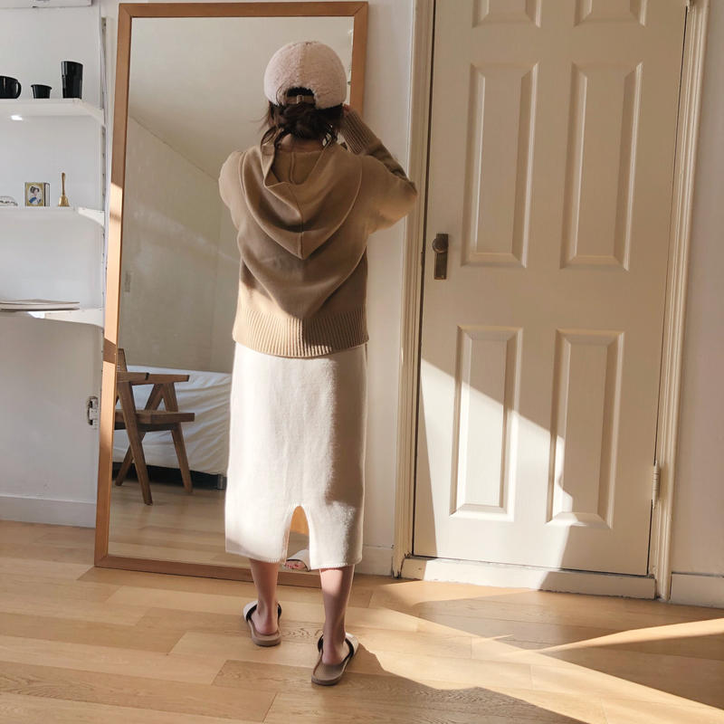 wool skirt / ivory