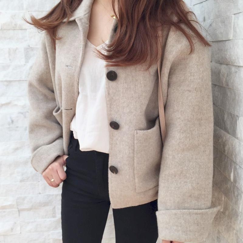 handmade short coat / oatmeal