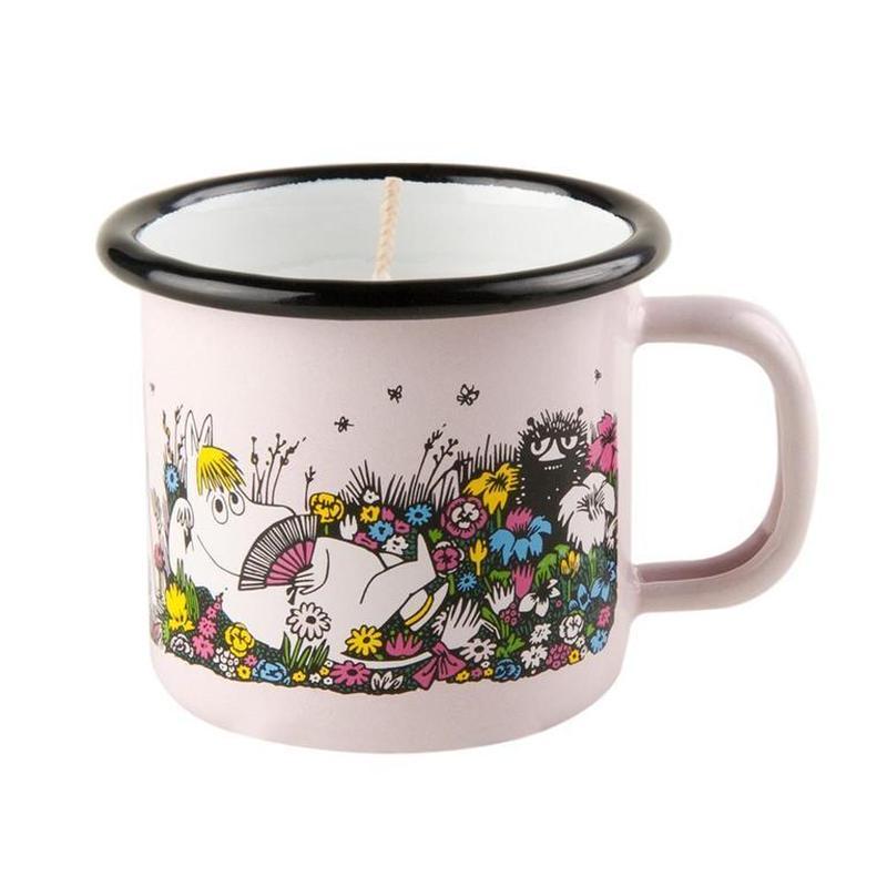 Muurla (ムールラ)  ムーミン ホーローカップ付き キャンドル 一緒の時間 ピンク. 1,5DL