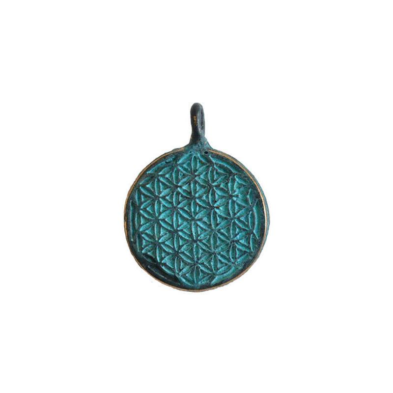 bronze flower of life pendant top(gan016)