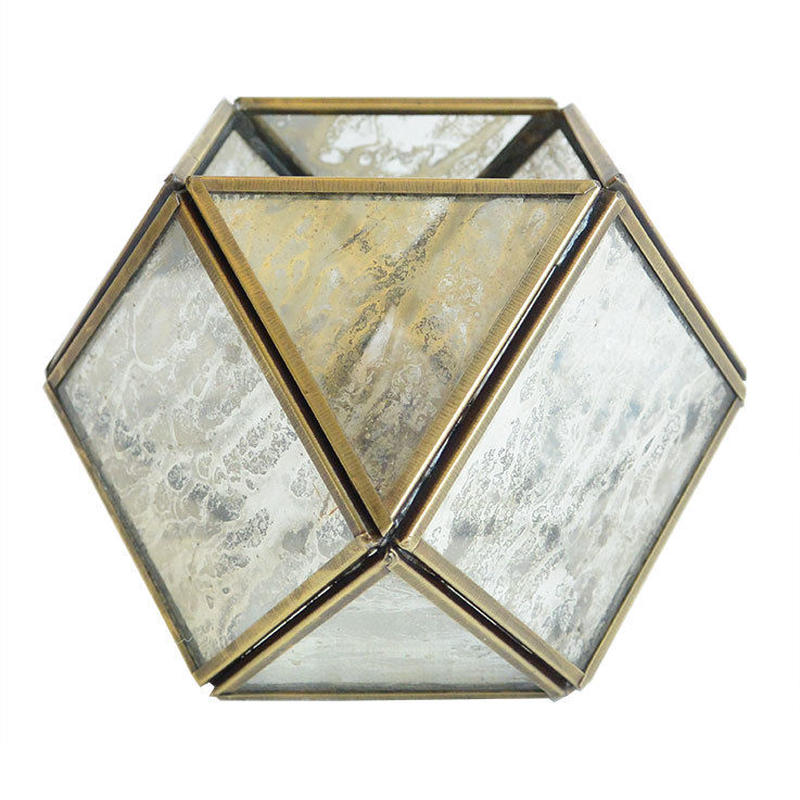 """India made""  polyhedron glass lantern (OMAC1290)"
