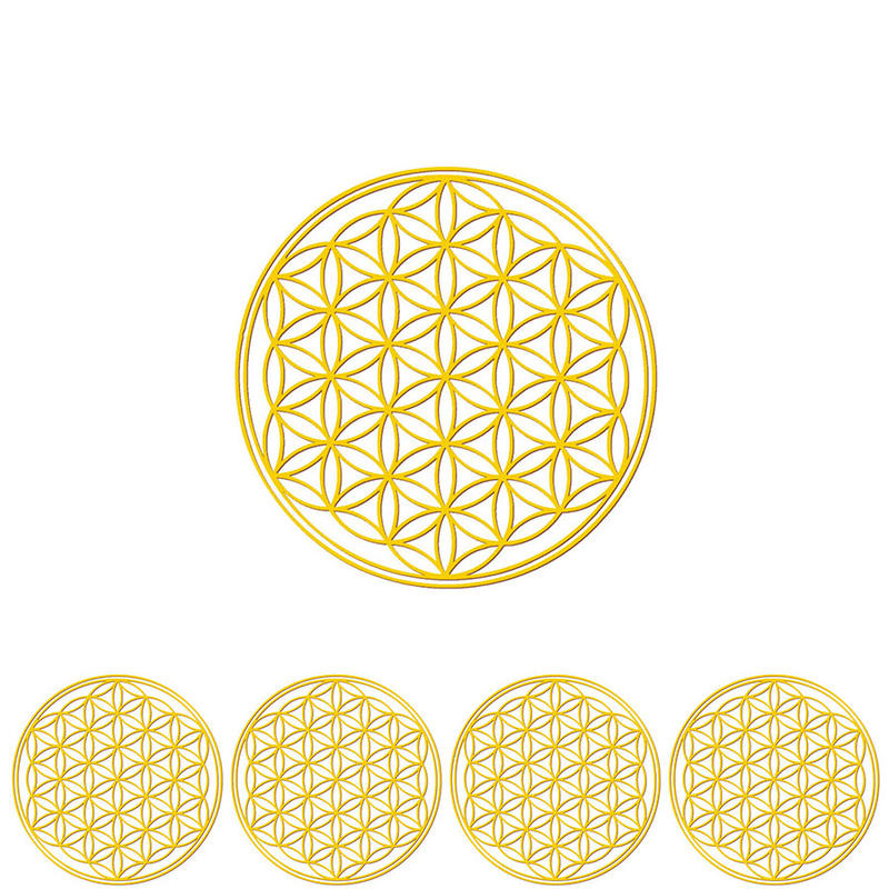"""flower of life"" gold sticker -5 piece set-  (sst003-2)"