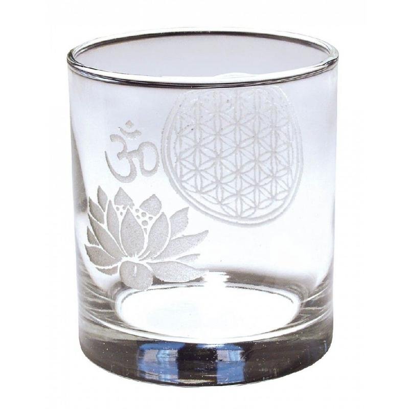 """flower of life × lotus om""  glass (ss001)"